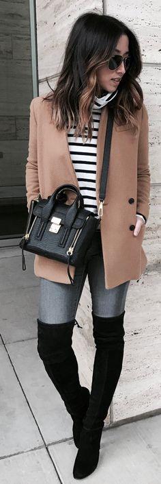 Brown Coat / White Striped Turtleneck / Grey Skinny Jeans / Black Velvet OTK Boots / Black Leather Shoulder Bag