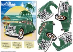 CUP888900_16808 - This vintage car is on holiday. Decoupage the car.