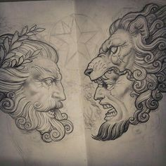 Zeus & Hercules Tattoo Design Inspiration