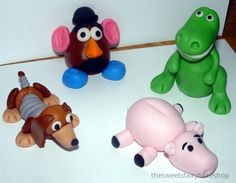 Fondant Toy Story Inspired Cake Toppers (set Of - Toys for years old happy toys Cumple Toy Story, Festa Toy Story, Toy Story Party, Toy Story Birthday, Disney Cake Toppers, Fondant Cupcake Toppers, Disney Cakes, Marzipan, Woody Cake