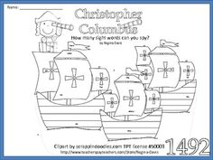 $ -  Christopher Columbus Sight Word Find