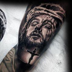 Jesus tattoo on bicep tattoos tatuagem de jesus, tatuagem re Jesus Tattoo On Arm, Jesus Tattoo Design, Angel Tattoo Designs, Tattoo Designs Men, Jesus On Cross Tattoo, Jesus Tattoo Sleeve, Tattoos Arm Mann, Hand Tattoos, Tribal Tattoos