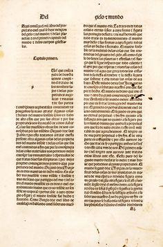 Lámina: capítulo del mundo y de los cuerpos celestiales (p.1). En: De propietatibus rerum (en castellano) / [Bartholomaeus Anglicus ; trad. por Fray Vicente de Burgos]-Emprimido en la noble ciudad de Tholosa : por Henrique Meyer ... , 18 de septiembre de 1494. Enciclopedia medieval que alcanzó gran difusión. Acceso al texto en UCM http://absysnetweb.bbtk.ull.es/cgi-bin/abnetopac01?TITN=223192