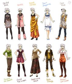 Manga Clothes Female Anime | Various female clothes 9 by `meago on deviantART