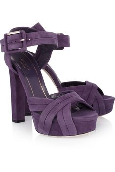Heel measures approximately 140mm/ 5.5 inches with a 40mm/ 1.5 inch platform Grape suede Folded panels, crossover toe straps, open almond toe Buckle-fastening ankle strap Designer color: Grape Royal
