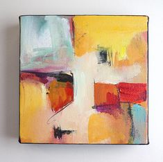 """Original abstact painting, acrylic painting on canvas, bold colorful art, yellow red blue art, wall art, expressionist art, gift, """"ABS6 627"""""""