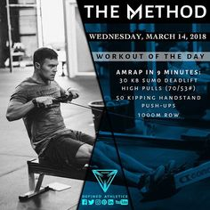 -WORKOUT OF THE DAY- March 14 2018 AMRAP in 9 Minutes: -30 Kettlebell Sumo Deadlift High Pulls (70/53#) -50 Kipping Handstand Push-ups -1000m Row @definedathleticsmethod by @definedathletics by @andrewandtianna All the hashtags: #definedathletics #definedathleticsmethod #themethod #method #workoutoftheday #wod #fitness #workout #strength #gymnastics #endurance #training #gymlife #fitlife #getstrong #gym #athletes #affiliates #lifestyle #competitor #healthy Workout indexing: #timepriority…