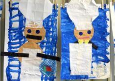 Bakkerscollage, kleuteridee.nl , thema bakker voor kleuters. De kinderen verven de eerste dag het ruitje van de bakkersbroek. Als dit droog is maken de kinderen van papier de volgende dag een bakker met een echte bakkersmuts en een schort.
