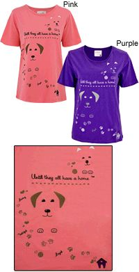 'Until They All Have a Home' Embroidered Tee - Dog at The Animal Rescue Site; $12.80 S/M in Pink- Outlet! Sweetly embroidered on our cotton tee, a couple of irresistible faces spread the word: we won't give up until they all have a home! With the words loyal, loving & faithful embroidered into silky cotton, this one's your new fave!