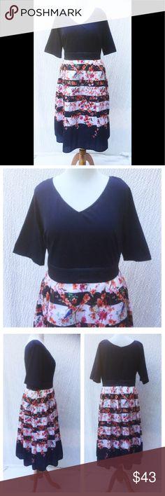 "New Eshakti Floral Stripe Fit Flare Dress 24W New Eshakti navy mixed media fit & flare dress 24W Measured flat: Underarm to underarm: 47"" Waist: 44"" Length: 46"" Sleeve: 13"" Eshakti size guide for 24W bust: 51"" Cotton/spandex, medium stretch knit bodice w/ darts & back hidden zipper. Trapunto stitched banded waist, flared floral stripe polydupioni midi skirt w/ side seam pockets & lined in polytaffeta. Dry clean. New w/cut out Eshakti tag to prevent returning to Eshakti eshakti Dresses"