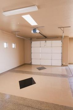 Painting the interior of your garage is a simple and expensive way to add resale value to your home. The more finished your garage is, the more it feels like a part of the home and the more potential . Painted Garage Walls, Garage Paint Colors, Garage Floor Paint, Garage Flooring, Paint Walls, Wall Colors, Garage House, Diy Garage, Garage Ideas