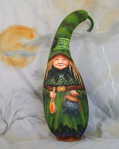 painted+gourds | Nan and the Owl, witch gourd, Halloween, owl, cauldron, 12 inches tall ...