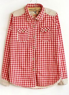 Womens Shoulder Spcing Red Plaid Blouse