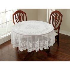 "70"" round $8.44 Lace Tablecloth, White"