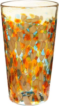 Now, I guess, this tumbler effect can be done with paint, and it's beautiful. Amber gold, teal, orange, and turquoise. #glass #cup #home #accessories