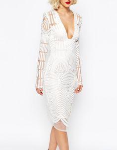 Lavish Alice Embroidered Wrap Midi Dress with Deep Plunge