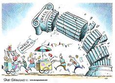 GREECE ECONOMY | Jun/30/15 Dave Granlund - Politicalcartoons.com - Greece economy crumbles -