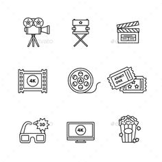 Buy Movie, Film and Video Icons Thin Line Art Set by IconicBestiary on GraphicRiver. Movie, film and video icons thin line art set. Black vector symbols isolated on white. Buch Design, Art Design, Icon Design, Film Logo, Movie Tattoos, Cute Tattoos, Geek Culture, Seven Film, La Haine Film