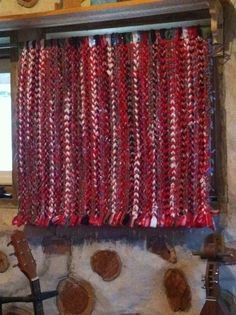 """The """"After"""" curtain !! Yes I put the colorful woven rag rug on a curtain rod and I think it looks Beautiful !!!! Only 6 more to go lol :) made by me, LKV :)"""