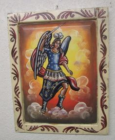 Archangel Saint Michael Retablo-Mexican Folk Art-18.5x24-Handpainted-Wooden