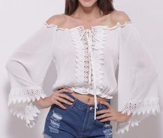 Bohemian Lace Crop Top Sleeve Style: Flare Sleeve Material: Cotton,Polyester Sleeve Length: Full