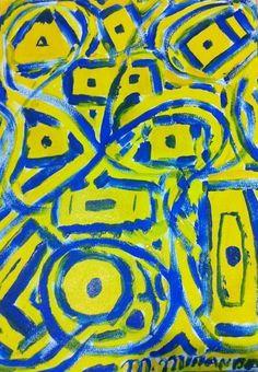 """""""Olhares"""" acrílica sobre papel 0,32 x 0,24 2002 M. Sigrini Miranda"""