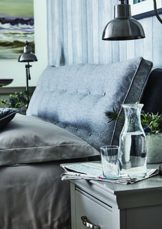 Create a sophisticated and cosy bedroom with cool greys and modern accessories. Perfect for a lazy Sunday lie in! #homedecor #bedding #interiors