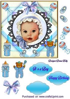 Baby boy on Craftsuprint designed by Donna Kelly - Cute baby boy card front, angelic face, includes decoupage and Labels,Approx 6.5x6.5 sentiments include It's a boy