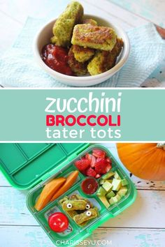 Give this Zucchini Broccoli Tater Tots recipe a whirl - it has protein, grains, and veggies all in one and is great finger food for picky eaters. Try it for Halloween! Easy Toddler Meals, Easy Meals For Kids, Easy Snacks, Quick Easy Meals, Kids Meals, Finger Foods For Kids, Healthy Finger Foods, Healthy Snacks, Vegetable Snacks