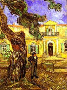 Een kunstwerk van Vincent van Gogh. De bomen lijken net door de wind te waaien. De manier waarop dit kunstwerk is geschilderd maakt het alsof de dingen in het schilderij bewegen.