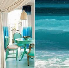 Ocean Inspired Dip Dye Curtains. DIY or Shop the Look: http://www.completely-coastal.com/2014/10/blue-dip-dye-curtains.html
