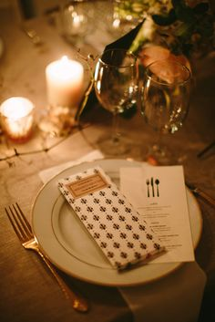 romantic place setting finished with a chocolate bar