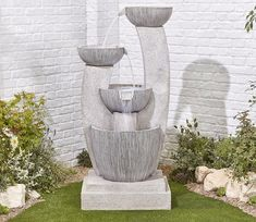 Elegant is the adjective that comes readily to mind when considering the Greek Columns Water Feature whose contemporary design has ancient origins. Garden Water Fountains, Indoor Fountain, Greek Garden, Indoor Waterfall, Cement Crafts, Garden Pool, Pool Landscaping, Water Features, Contemporary Design