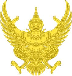 File:Garuda Emblem of Thailand (Monochrome). Khmer Tattoo, Map Symbols, Buddha, Thai Pattern, Thailand Photos, Thai Art, Deities, Asian Art, Line Art