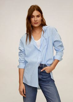 Fabric with cotton Striped design Classic collar Long sleeve with buttoned cuffs Patch pocket Button up Sweat Shirt, Blue Chests, Wishlist Shopping, Mango France, Stripes Design, Pull, Jeans, Latest Trends, Long Sleeve