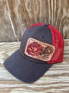 Western Trucker Baseball Snap Back Cap Hand Tooled   Painted ROSE Hat Rodeo  USA f361facf168a