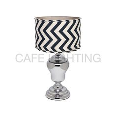 A stylish and contemporary lamp, perfectly proportioned they make an ideal bedside table lamp. Linen shade in stylish navy blue and natural linen chevron patt. Chevron Table, White Lamp Shade, Interiors Online, Bedside Table Lamps, Contemporary Lamps, Drum Shade, Lamp Bases, Polished Chrome, Decor Styles
