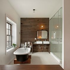 Anthony Tahlier Photography - bathrooms - wood planks, accent wall, antique, black, mirror, white, porcelain, vessel, sinks, seamless glass shower, subway tiles, shower surround, vintage, penny, tiles, floor, freestanding, tub, wood, planks, wood accent wall, plank accent wall, wood plank accent wall,