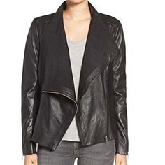 Drape Front Raw Edge Leather Jacket l Women Leather Jacket For Sale (XS)