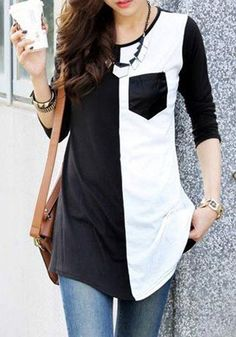 Black-White Patchwork Color Block Pocket 3/4 Sleeve Scoop Neck Casual T-Shirt - T-Shirts - Tops