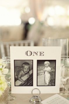 Such a cute idea! - Table number with pictures of the bride and groom at that age.