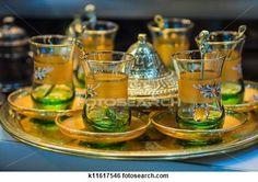 Tea cups on a bazaar in Istanbul (Turkey).