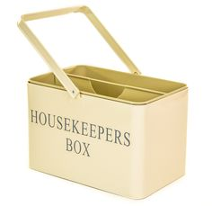 Retro Vintage Cream Enamel Housekeeper Cleaning Tool Carry Utility Caddy Box Tidy