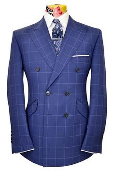 The Mollison Persian Blue Suit with Sapphire Blue Windowpane Check