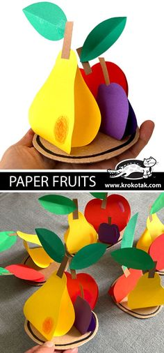 Autumn Crafts, Fall Crafts For Kids, Paper Crafts For Kids, Projects For Kids, Diy For Kids, Easy Mother's Day Crafts, Mothers Day Crafts, Paper Fruit, Fruit Crafts