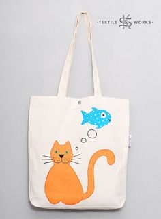 Cat Lover Gift Tote Market Bag Handmade Fabric Textile Eco Bag with Applique Shopper Gift For Woman Animal Canvas Cotton Bag Pet Lover Gift