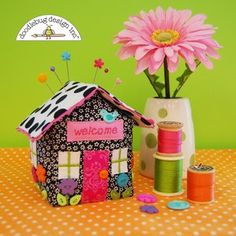 Finished Sample of cottage pincushion; free tutorial from Riley Blake