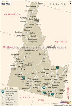 Idaho Map Showing The Major Travel Attractions Including Cities - Idaho state map with cities