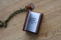 Unique Aged Mini book necklace with poem A HUNTING by DuDidesign