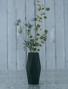 Tall Geometry Vase in Black